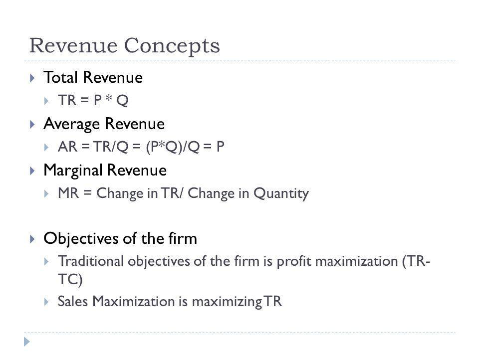 Revenue Concepts Total Revenue Average Revenue Marginal Revenue