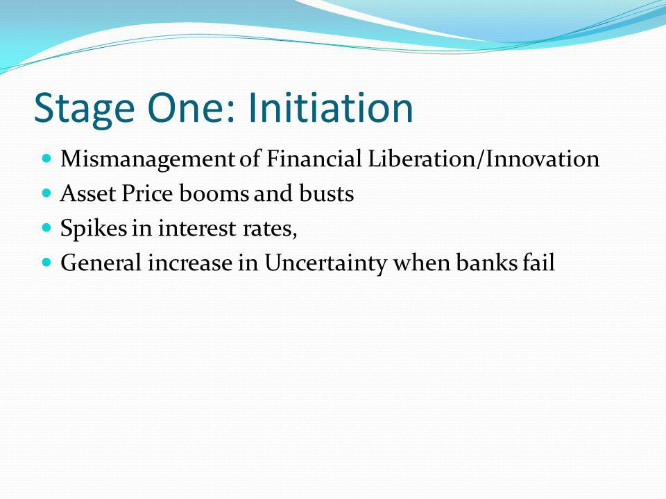 Stage One: Initiation Mismanagement of Financial Liberation/Innovation