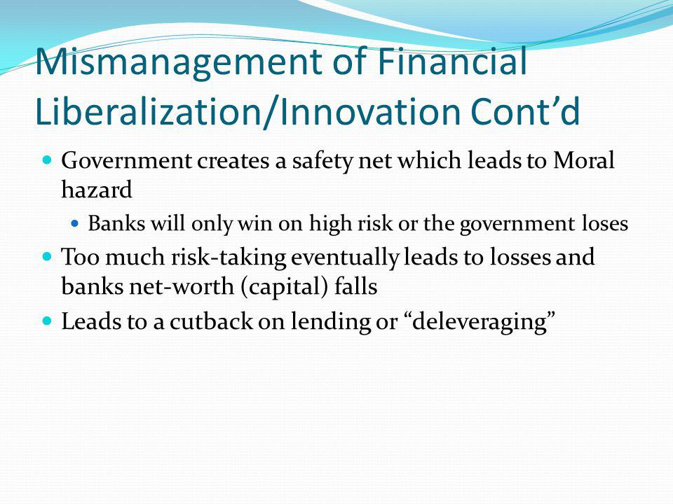 Mismanagement of Financial Liberalization/Innovation Cont'd