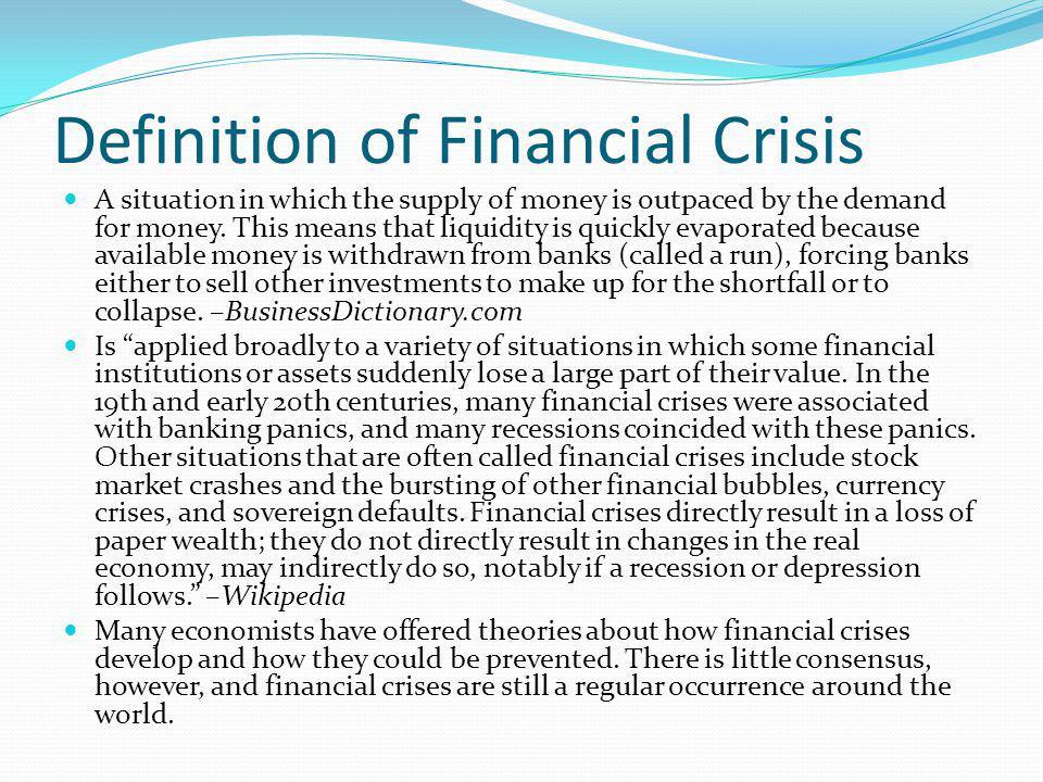 Definition of Financial Crisis