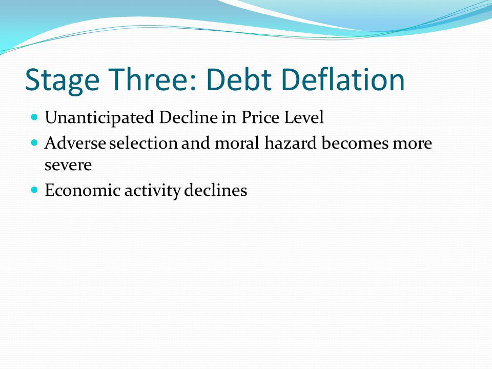 Stage Three: Debt Deflation