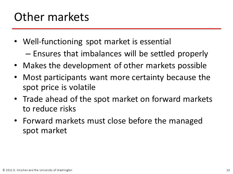 Other markets Well-functioning spot market is essential