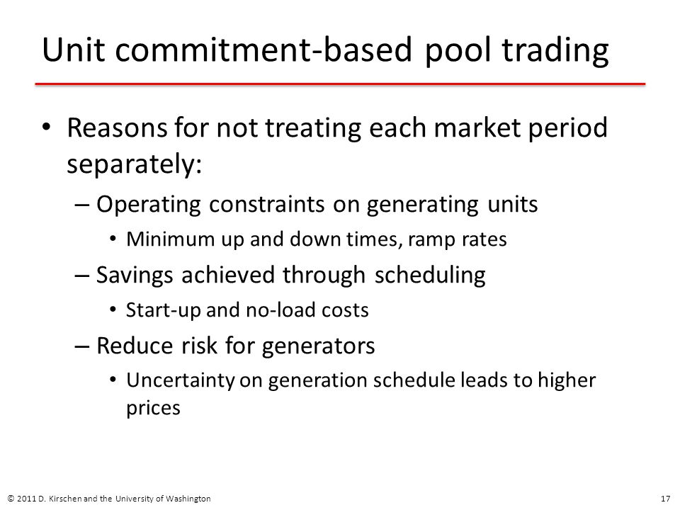 Unit commitment-based pool trading