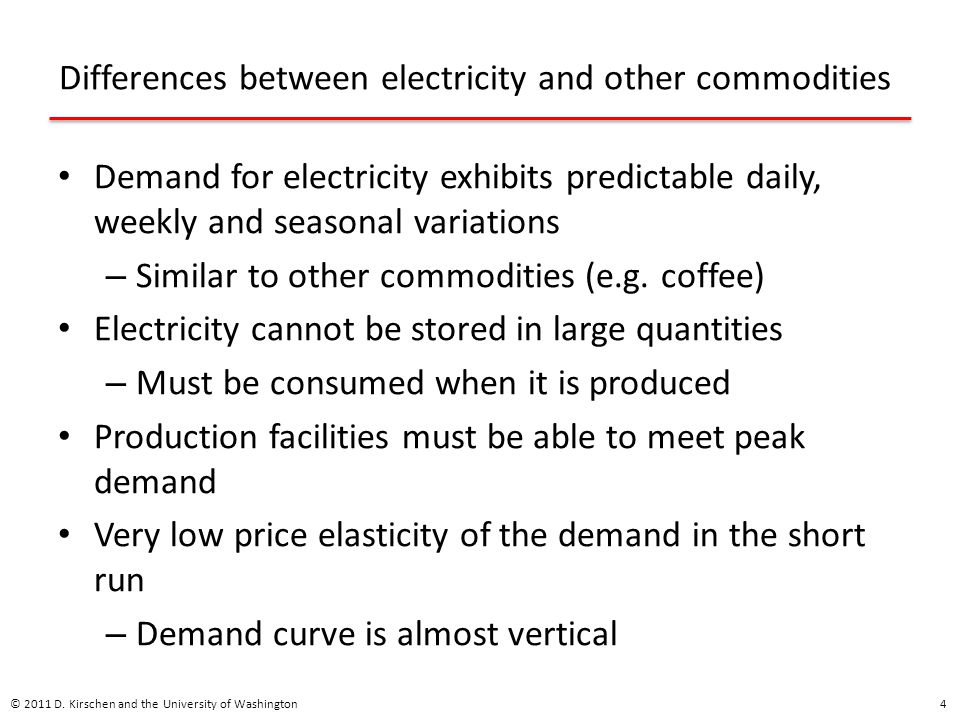 Differences between electricity and other commodities