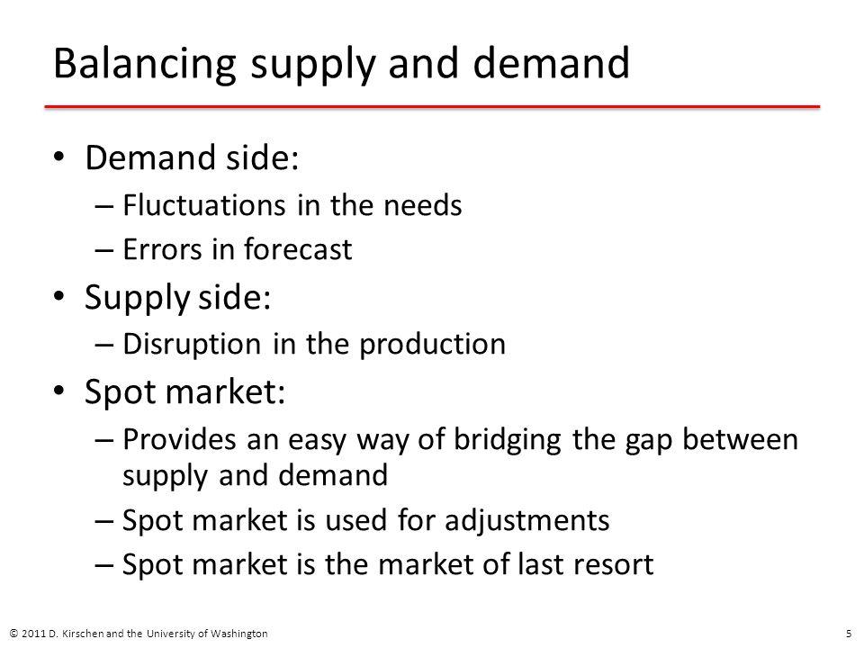 Balancing supply and demand