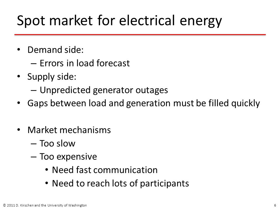 Spot market for electrical energy