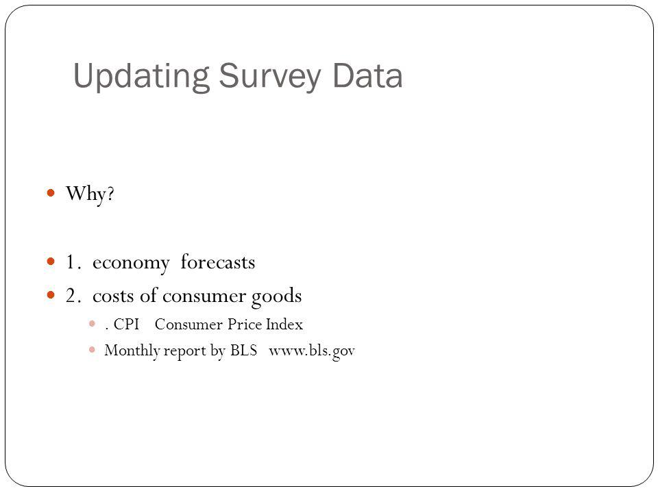 Updating Survey Data Why 1. economy forecasts