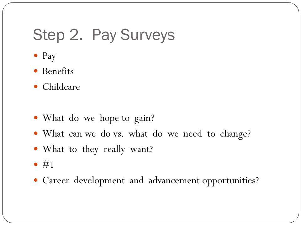 Step 2. Pay Surveys Pay Benefits Childcare What do we hope to gain