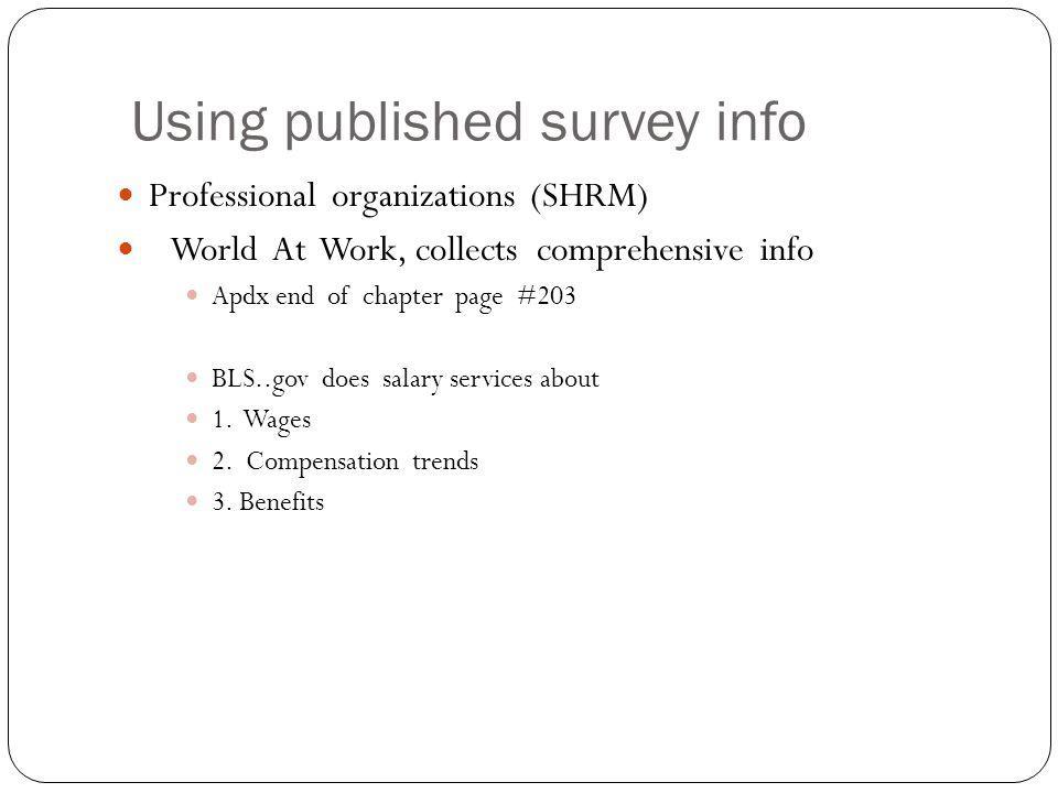 Using published survey info