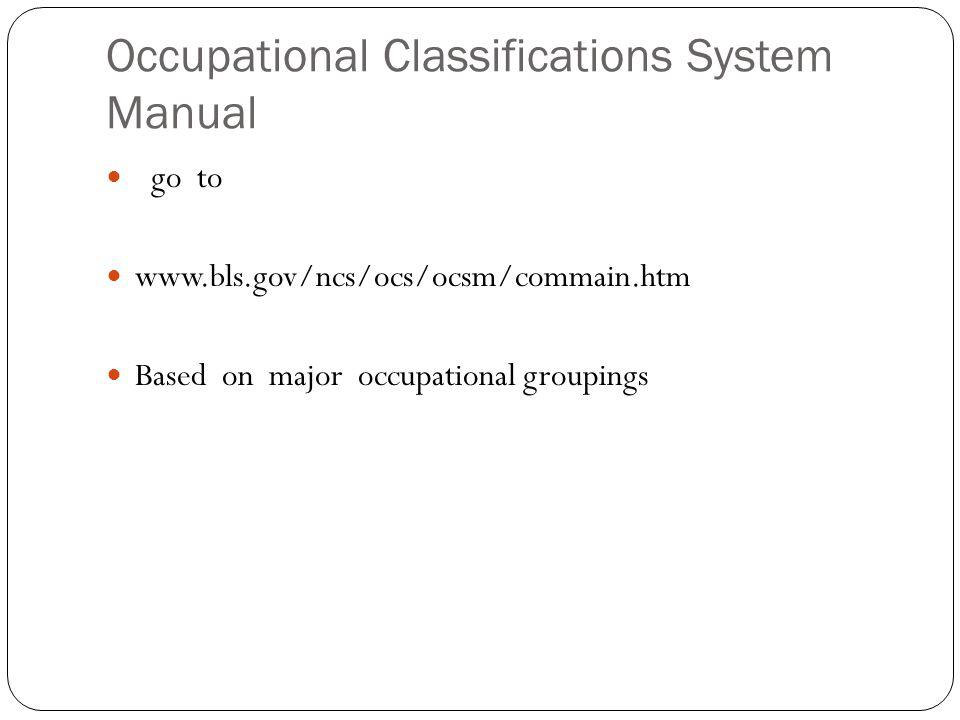 Occupational Classifications System Manual