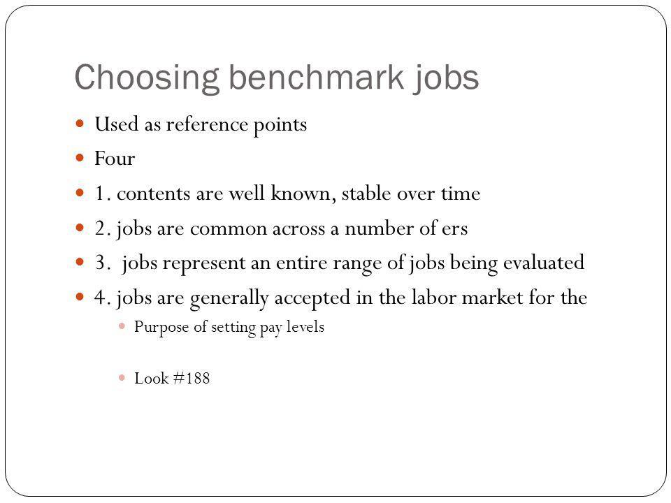 Choosing benchmark jobs