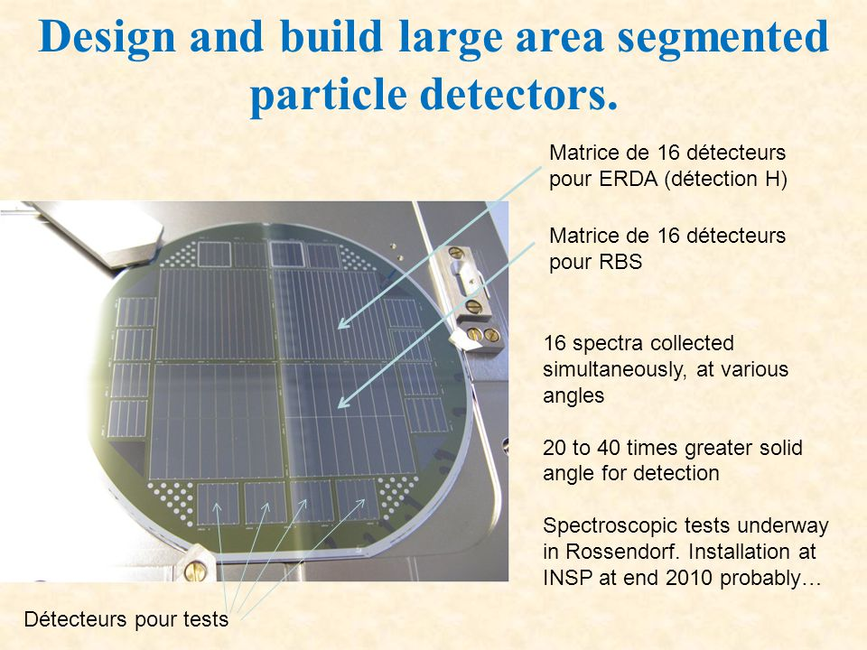 Design and build large area segmented particle detectors.