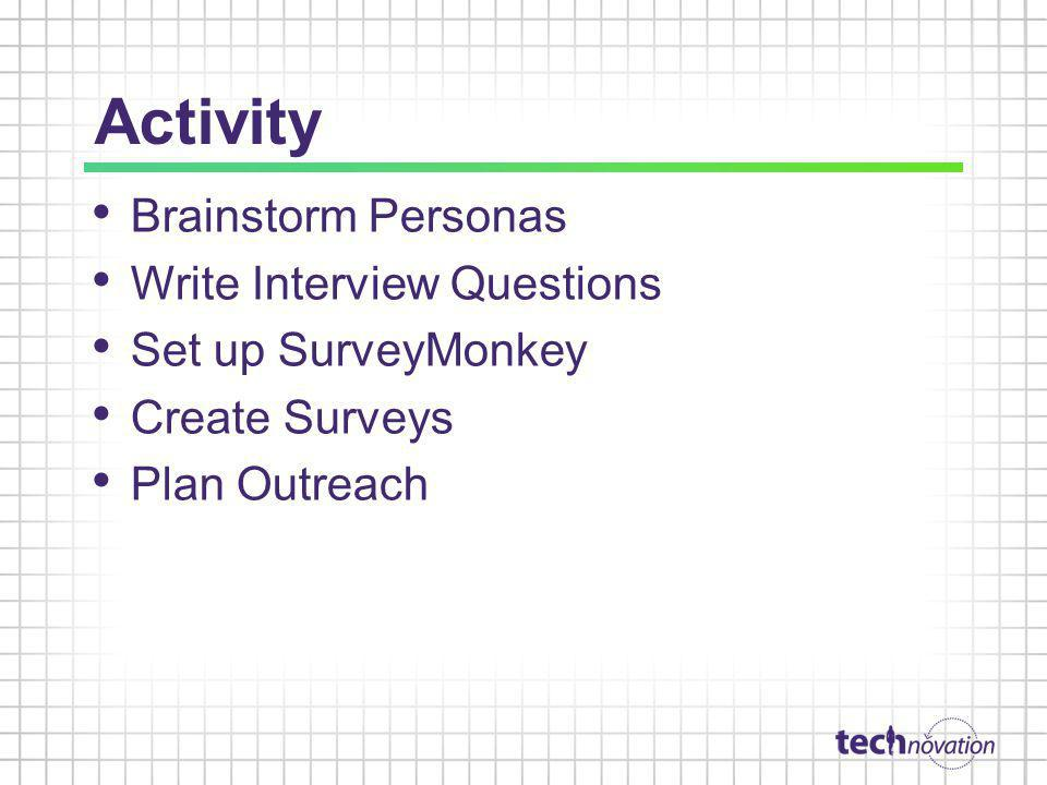 Activity Brainstorm Personas Write Interview Questions