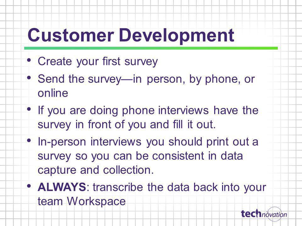 Customer Development Create your first survey