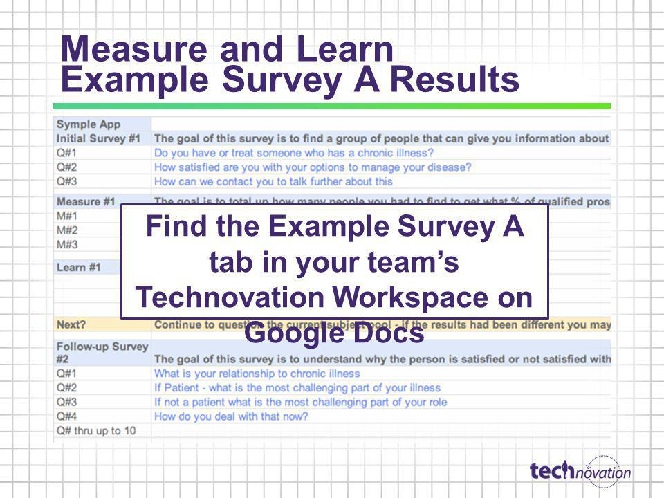 Measure and Learn Example Survey A Results
