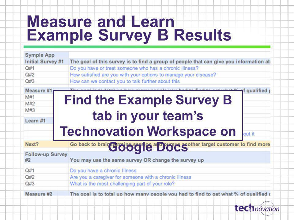 Measure and Learn Example Survey B Results