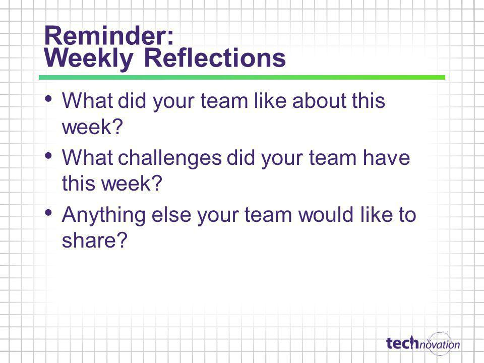 Reminder: Weekly Reflections