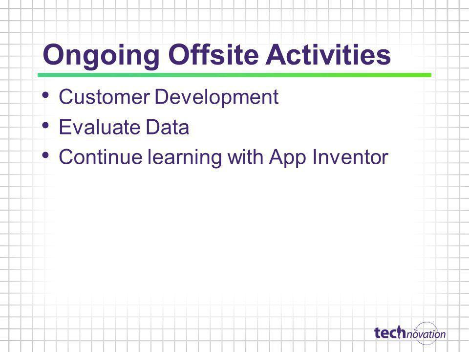 Ongoing Offsite Activities