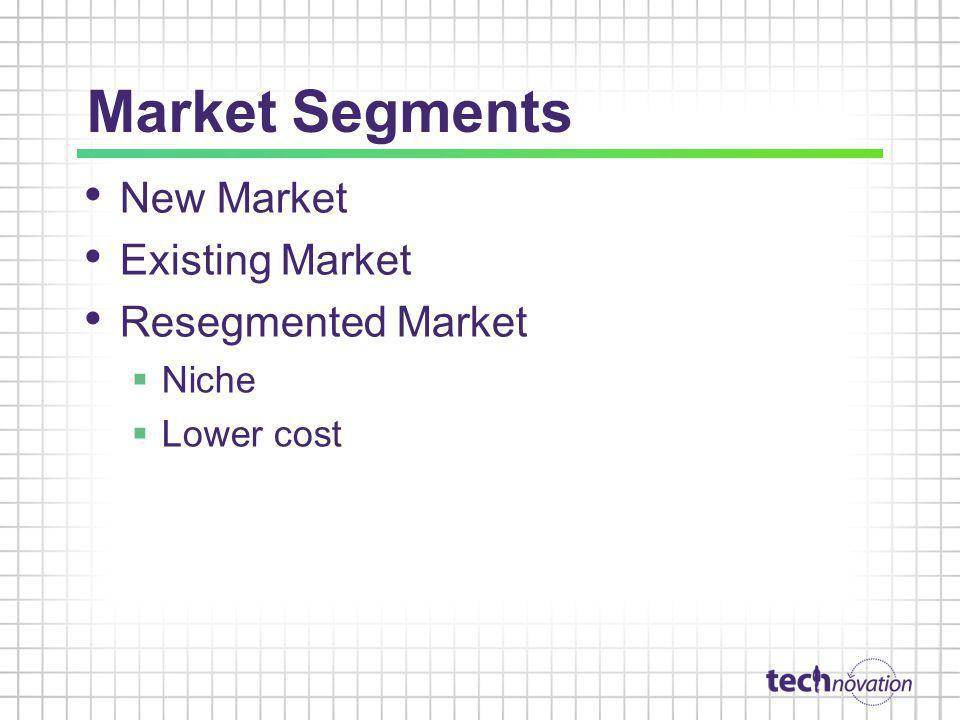 Market Segments New Market Existing Market Resegmented Market Niche