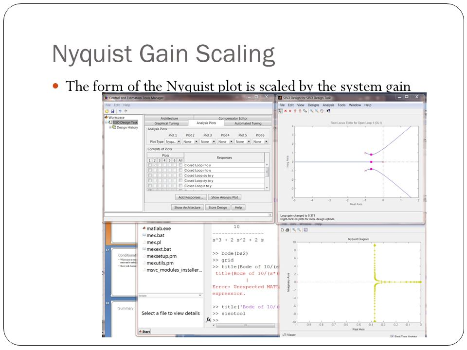 Nyquist Gain Scaling The form of the Nyquist plot is scaled by the system gain