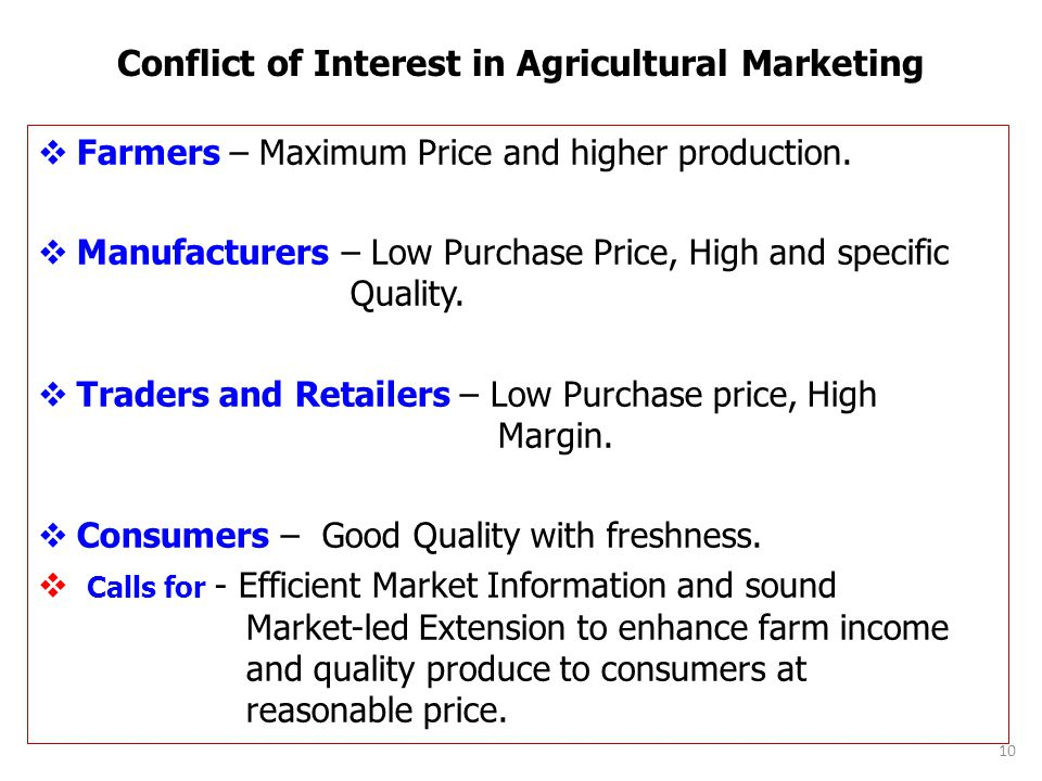 Conflict of Interest in Agricultural Marketing