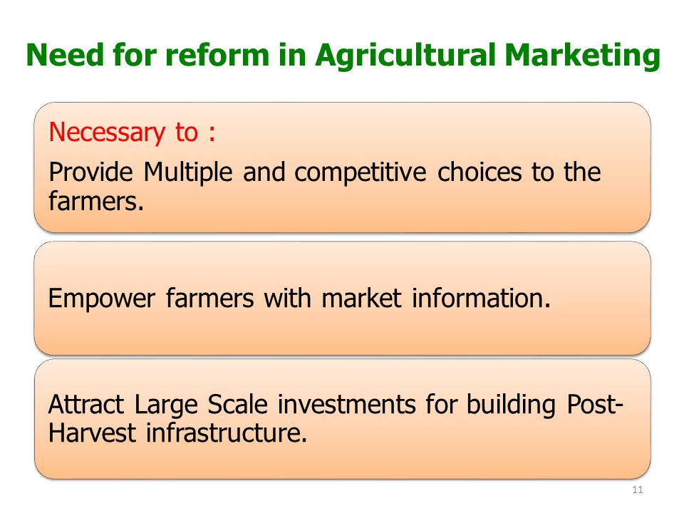 Need for reform in Agricultural Marketing