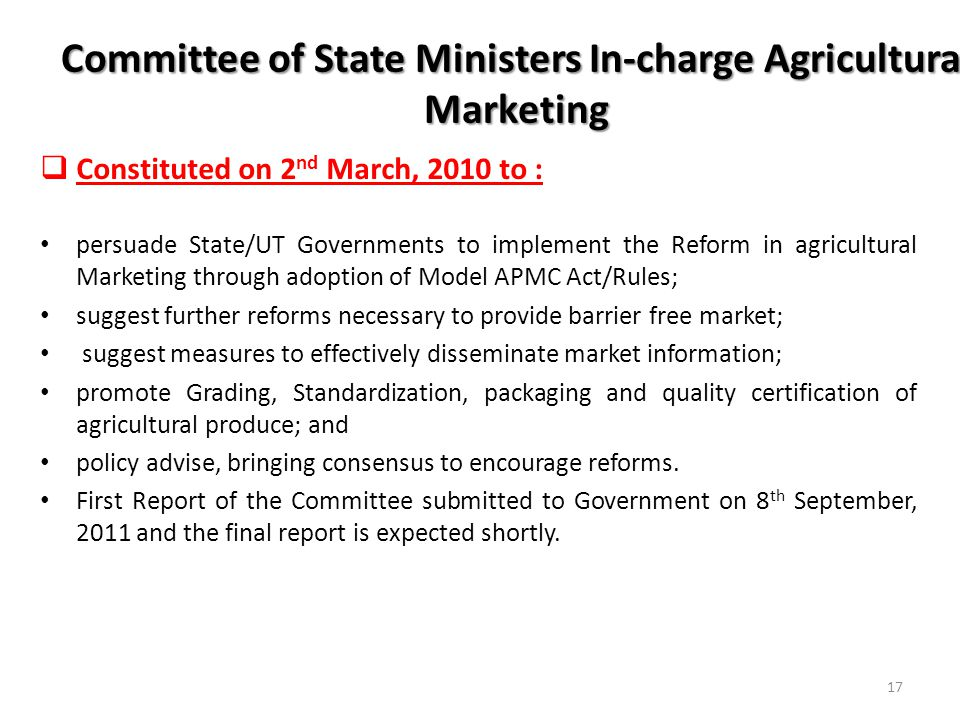 Committee of State Ministers In-charge Agricultural Marketing
