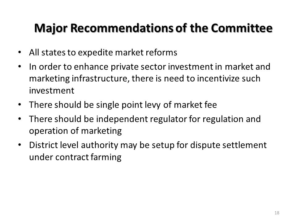 Major Recommendations of the Committee