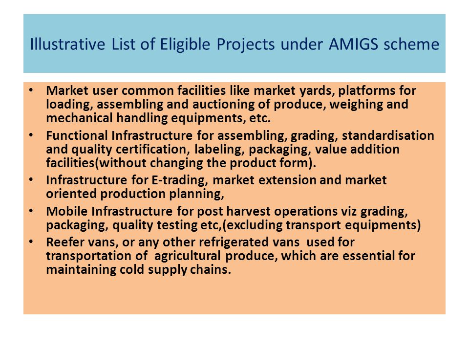 Illustrative List of Eligible Projects under AMIGS scheme