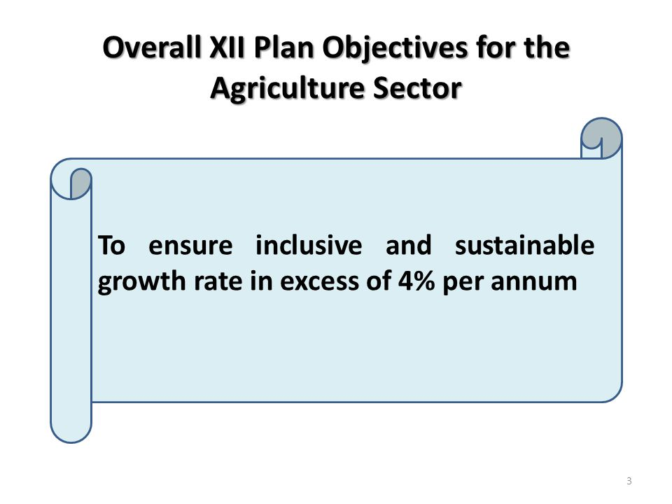 Overall XII Plan Objectives for the Agriculture Sector