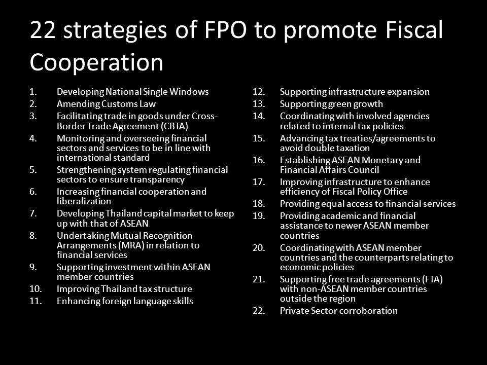 22 strategies of FPO to promote Fiscal Cooperation