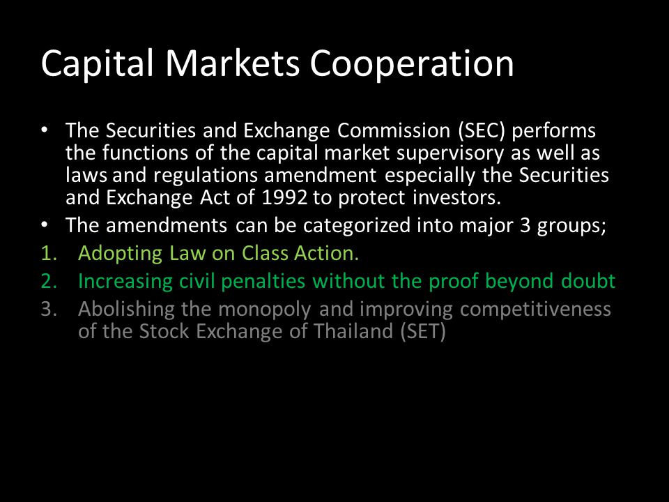 Capital Markets Cooperation