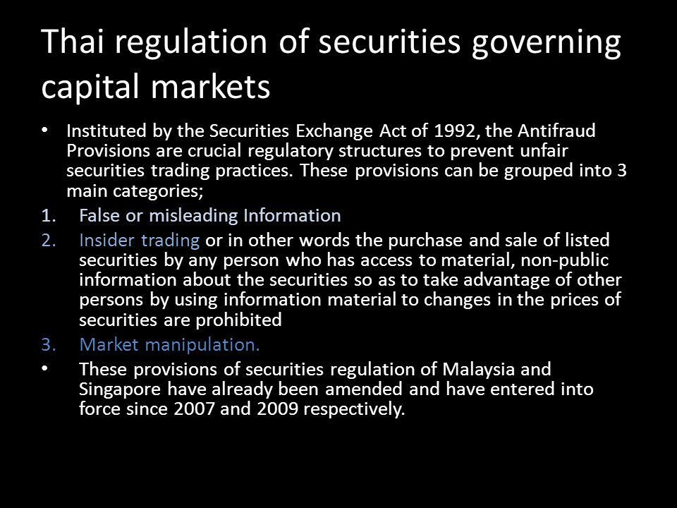Thai regulation of securities governing capital markets