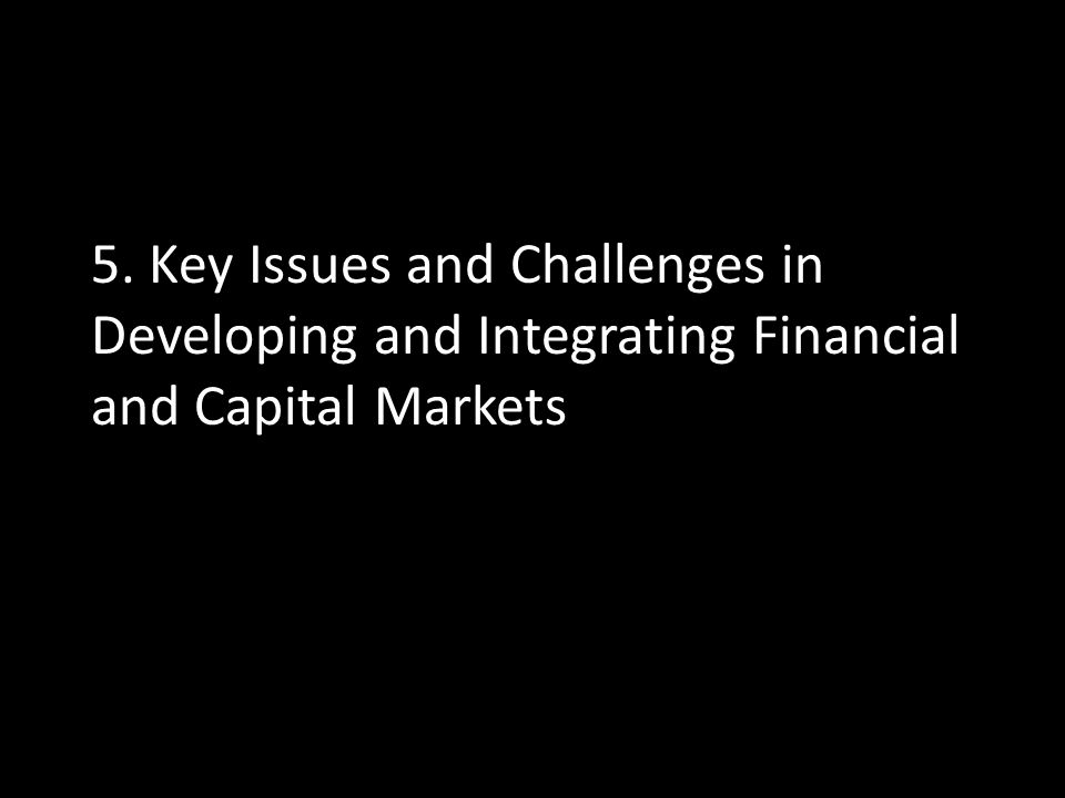 5. Key Issues and Challenges in Developing and Integrating Financial and Capital Markets