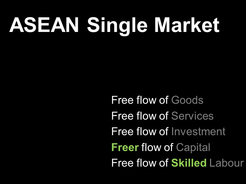 ASEAN Single Market Free flow of Goods Free flow of Services