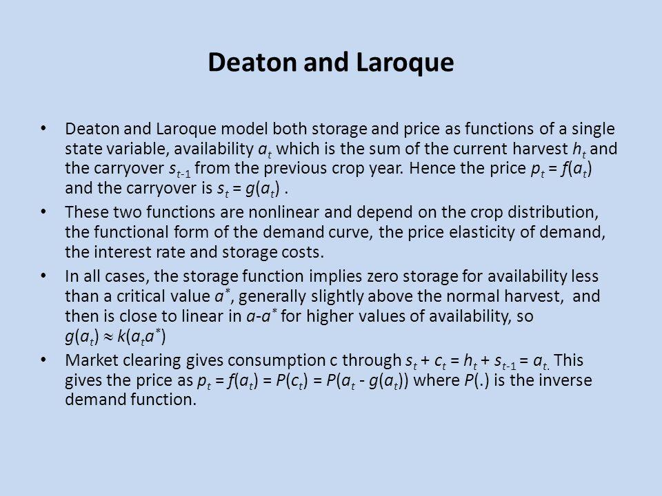 Deaton and Laroque