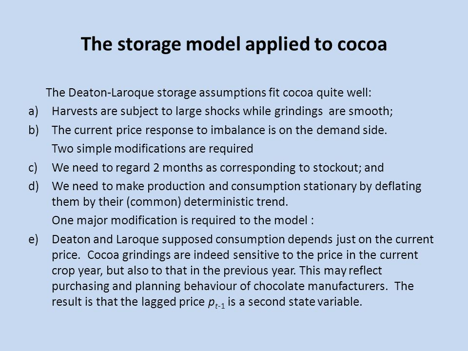 The storage model applied to cocoa