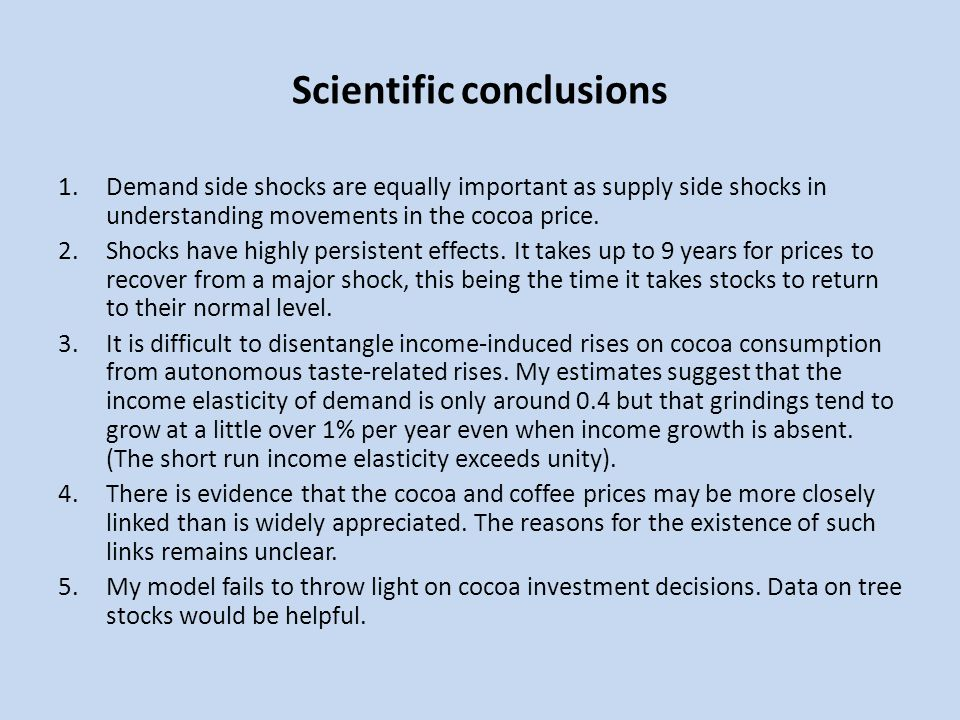 Scientific conclusions