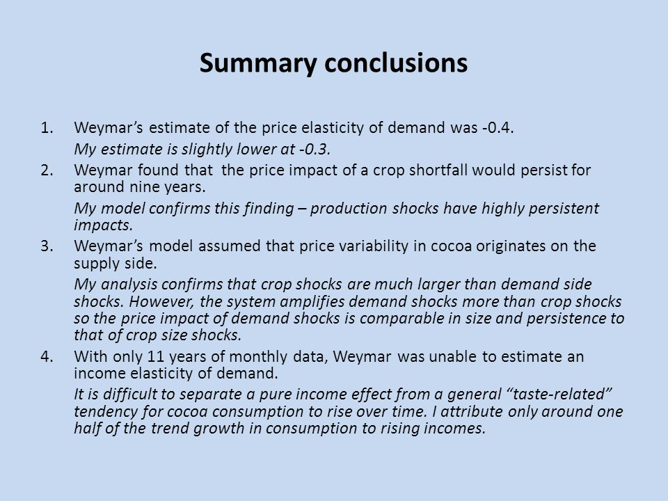 Summary conclusions Weymar's estimate of the price elasticity of demand was -0.4. My estimate is slightly lower at -0.3.