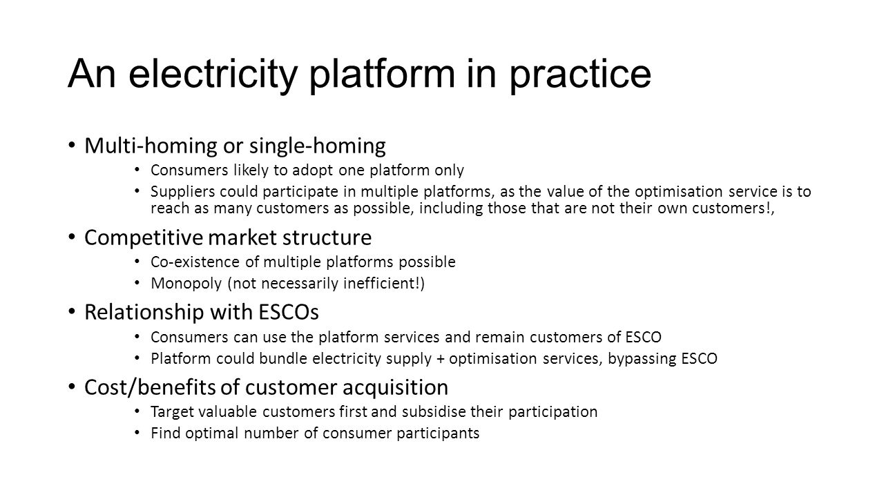 An electricity platform in practice
