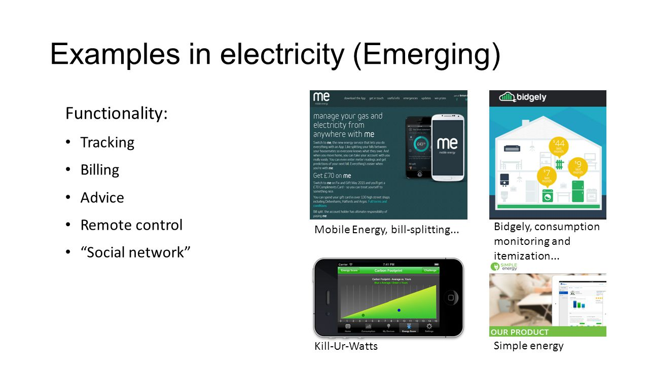 Examples in electricity (Emerging)