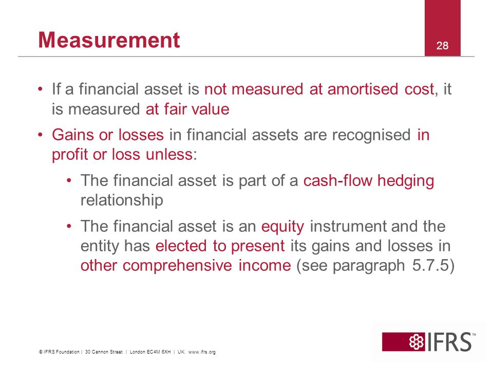 Measurement If a financial asset is not measured at amortised cost, it is measured at fair value.