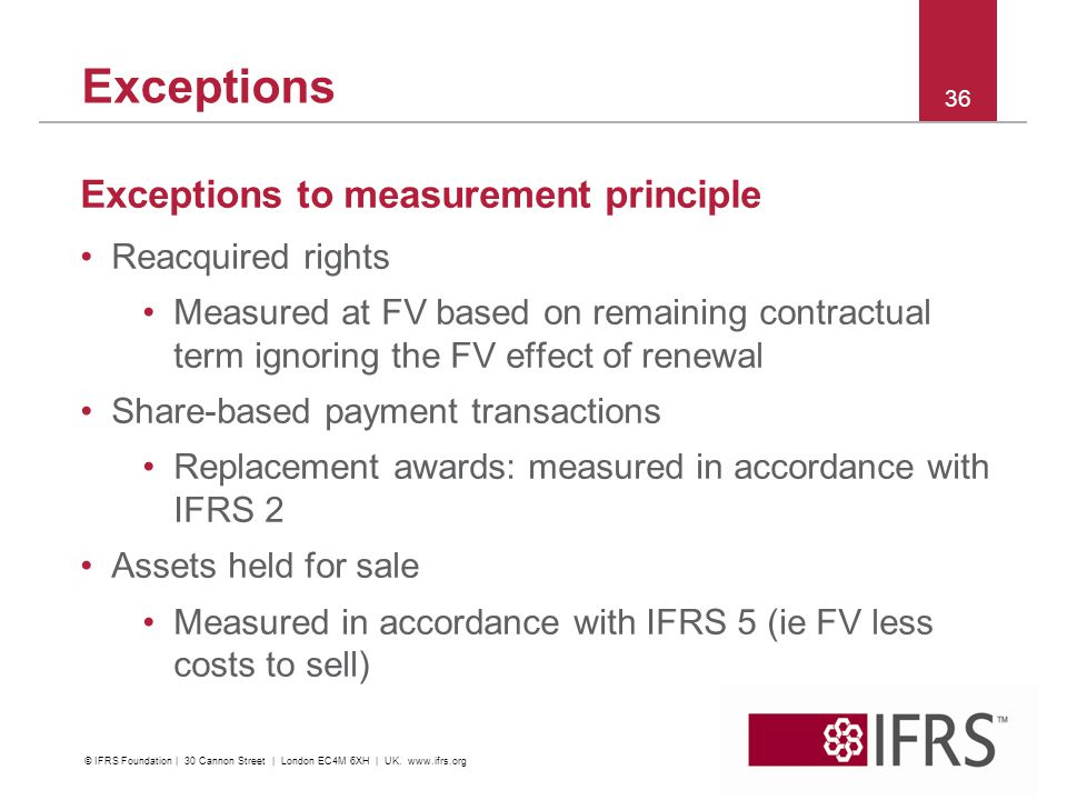 Exceptions Exceptions to measurement principle Reacquired rights