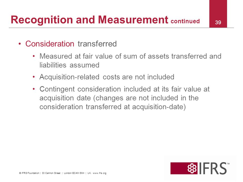 Recognition and Measurement continued