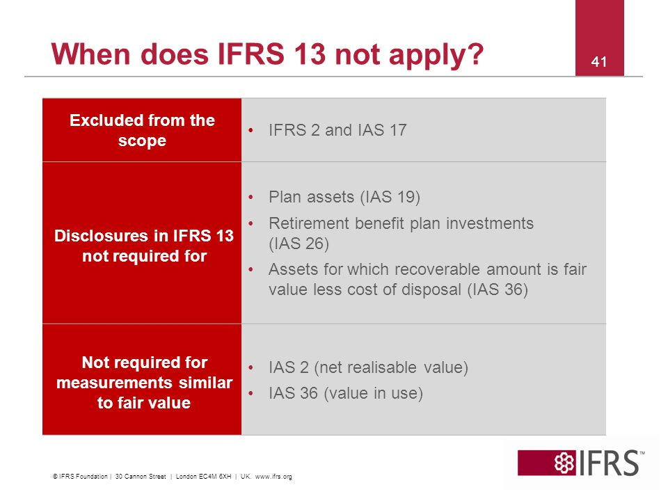 When does IFRS 13 not apply