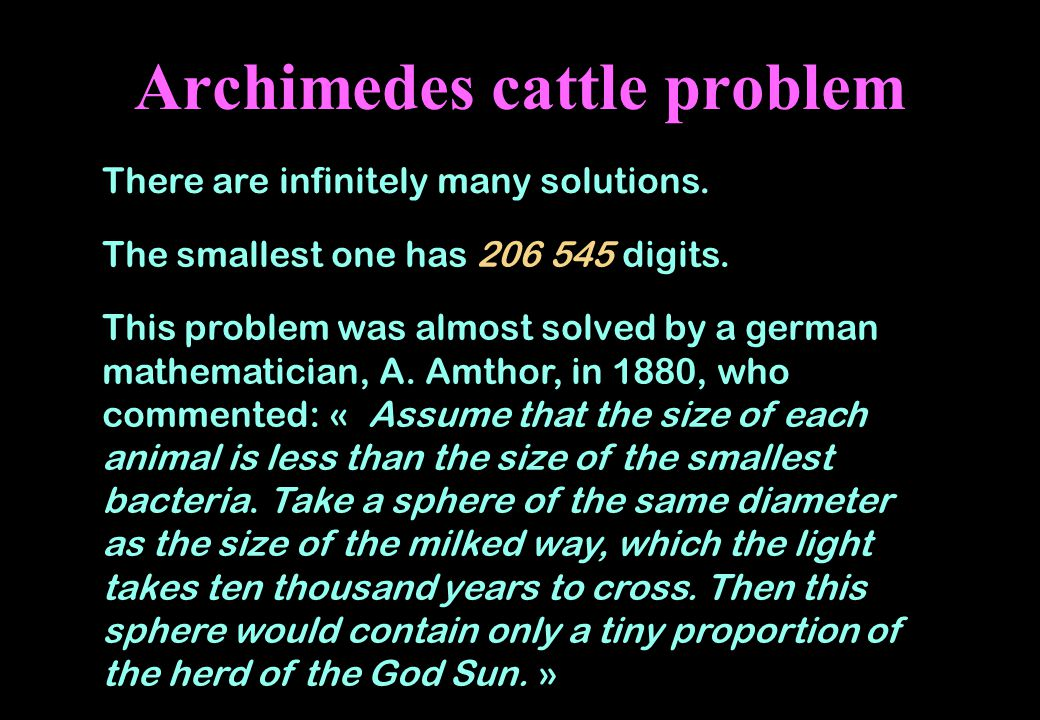 Archimedes cattle problem