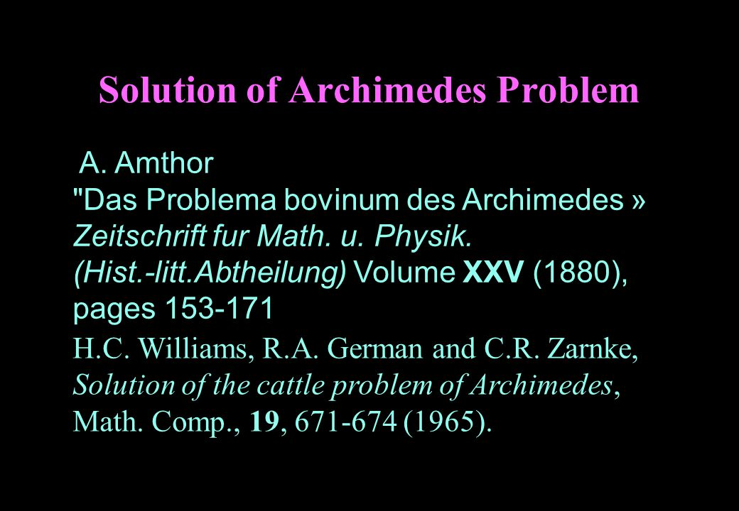 Solution of Archimedes Problem