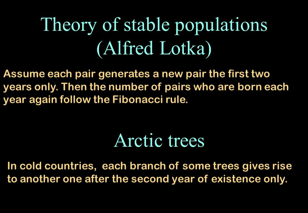 Theory of stable populations (Alfred Lotka)