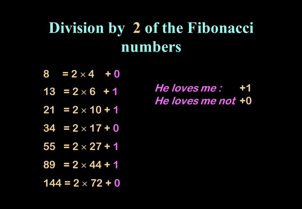 Division by 2 of the Fibonacci numbers