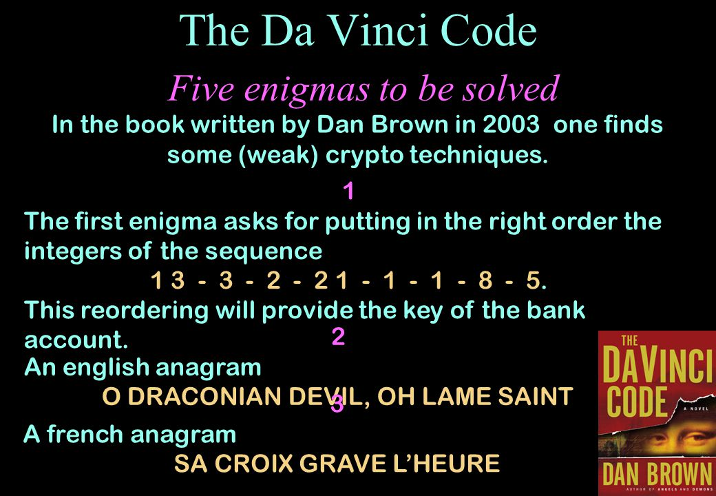 The Da Vinci Code Five enigmas to be solved